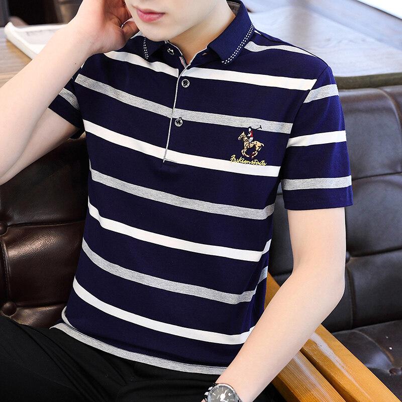 8011夏季新款男士短袖T恤条纹全棉薄款商务翻领男装polo衫男款