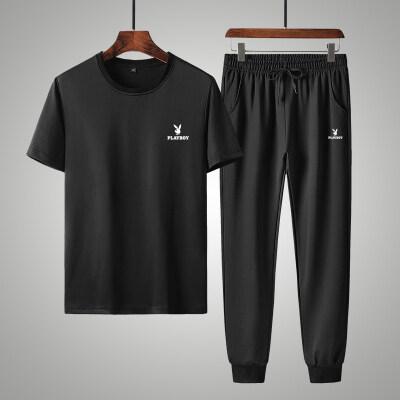 花花公子夏季短袖T恤套装男裤子潮流新款韩版青年运动休闲两件套
