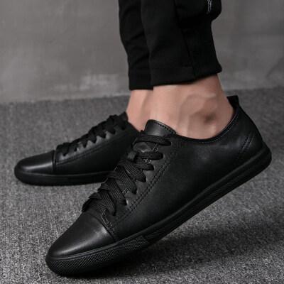 2020夏季新款真皮百搭平底板鞋韩版软底学生鞋潮透气休闲