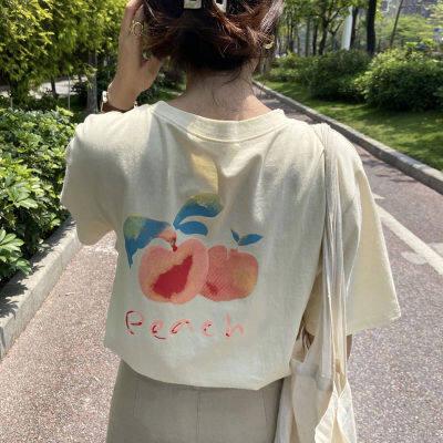 后背水彩画印花宽松日系上衣2020夏季新款韩版ins潮百搭短
