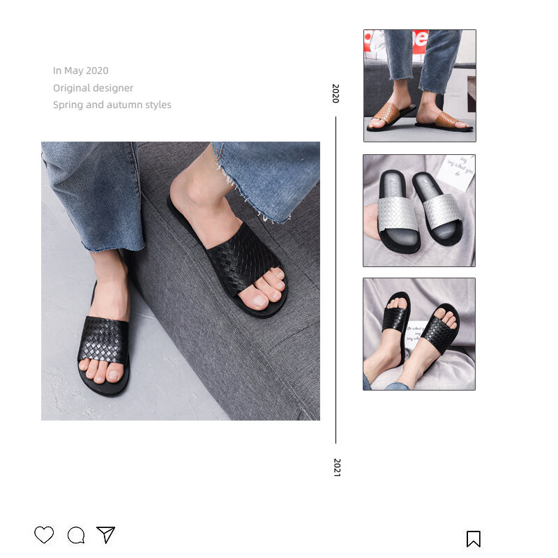 K16跨境热销47码男士拖鞋高档编织花纹长年备货皮面拖鞋