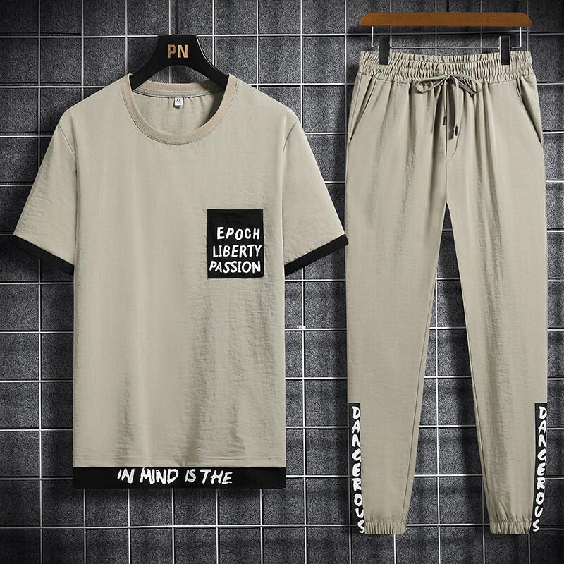 6182020夏季新款套装男士运动潮休闲宽松冰丝T恤青少年两件一套