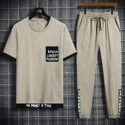 2021夏季新款套装男士运动潮休闲宽松冰丝T恤青少年两件一套