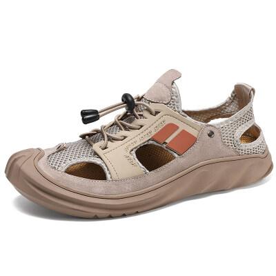 双胜鼠工厂店;新款跨境爆款真皮大码沙滩凉鞋38-48