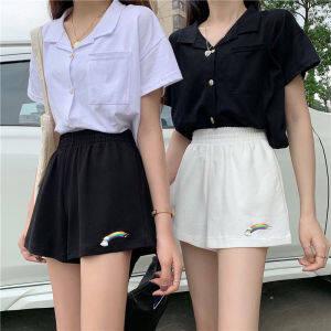 夏季韩版2020新款高腰显瘦网红薄款彩虹运动休闲短裤女装阔腿