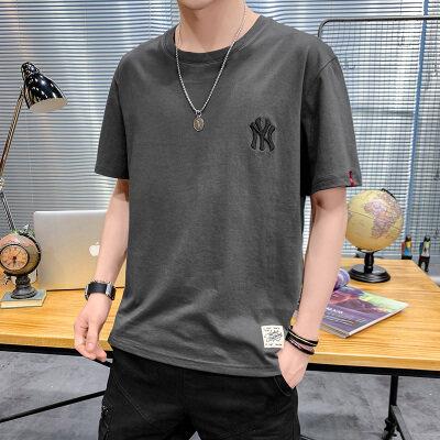 夏季港风大码宽松刺绣短袖T恤男圆领纯棉中袖卫衣模特灰T9551P22