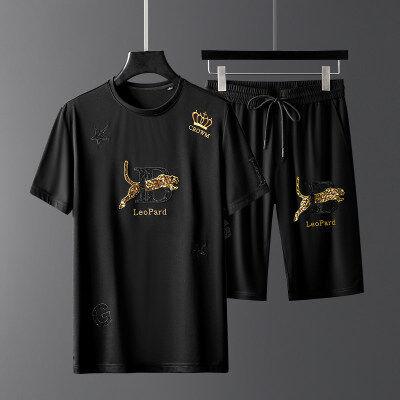 夏季男士套装休闲运动跑步潮流韩版帅气冰丝短袖短裤