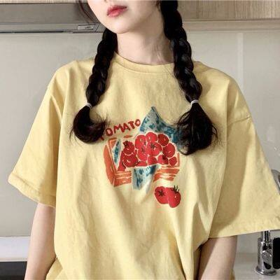 棉质韩国ulzzang鬼马系少女软妹萌日系小清新黄色番茄短袖