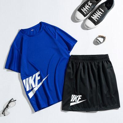 夏季男士短袖短裤运动休闲套装男爆款网眼大码套装速干衣