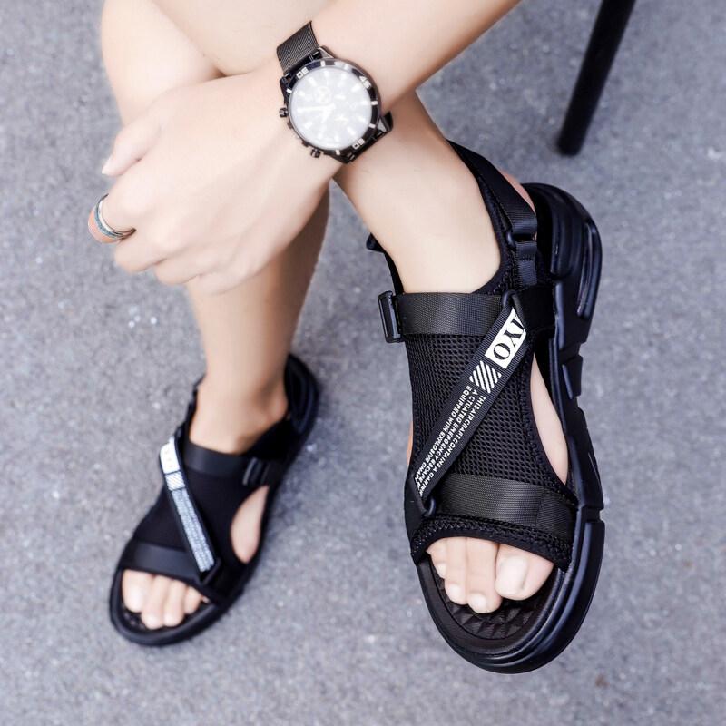 20193九牧林 爆款潮牌迷彩布时尚透气夏季气垫凉鞋沙滩鞋