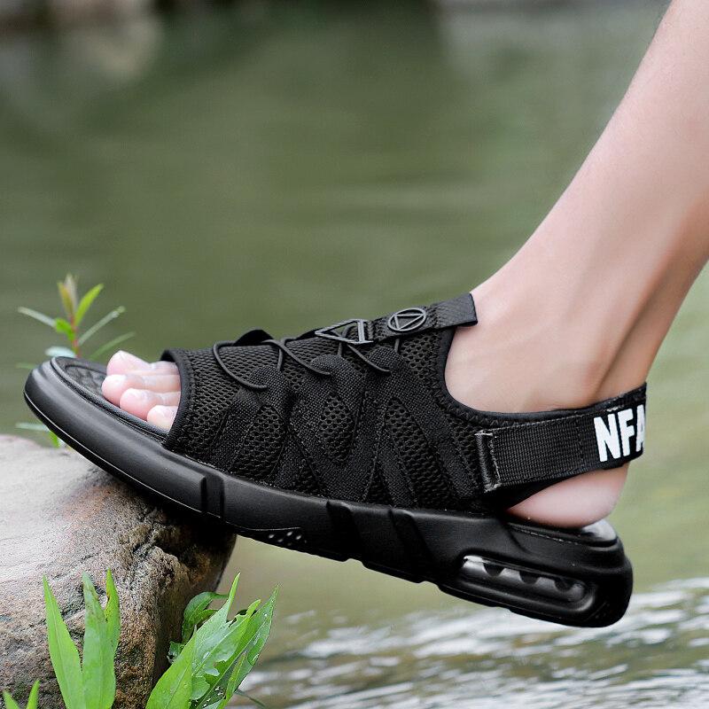 18188九牧林 时尚透气夏季气垫凉鞋沙滩鞋