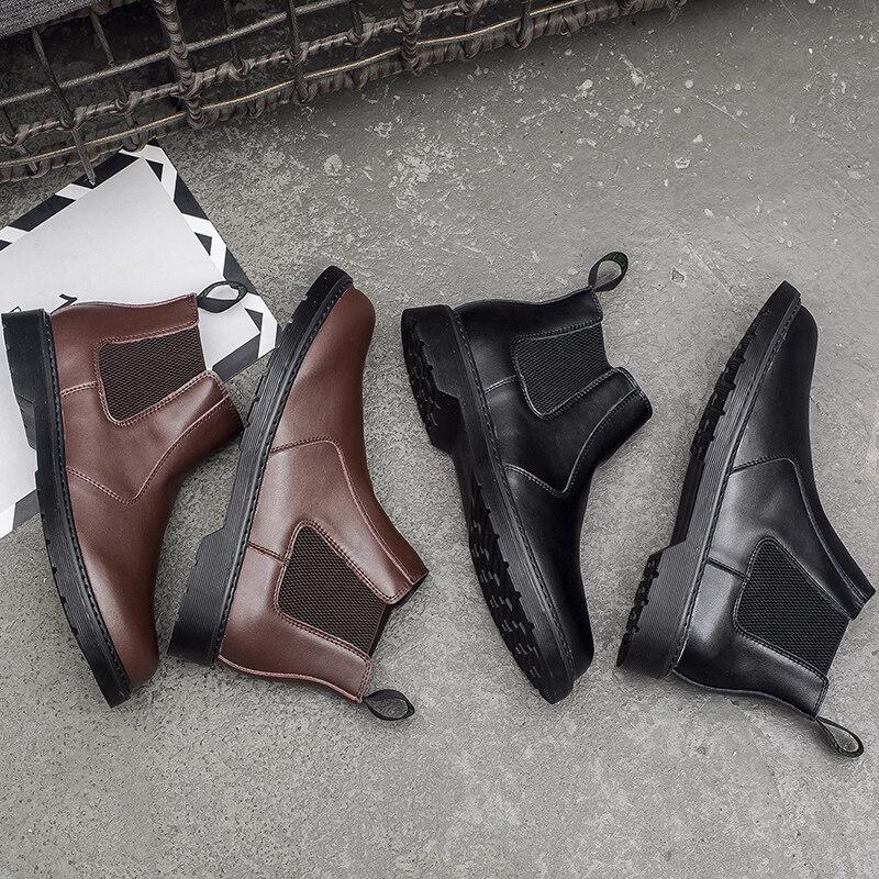 852p125控1552020春季男鞋 852p125控155 时尚舒适高帮切尔西靴潮流真皮工装靴