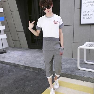 短袖t恤男孩半袖15岁初中学生韩版潮流夏装潮牌帅气套装B1119-P55