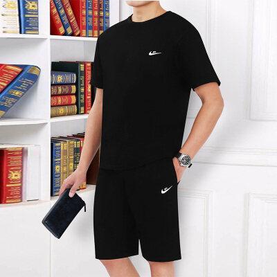 明利来运动套装夏季短裤短袖薄款运动服圆领跑步爸爸夏装