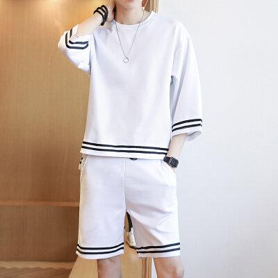 短袖套装男式宽松薄款运动套服休闲两件套B1142-P50