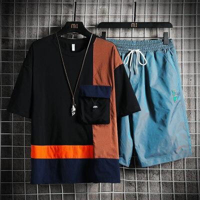 夏季男装休闲套装潮流韩版一套帅气搭配情侣T恤男短裤BT325TP50
