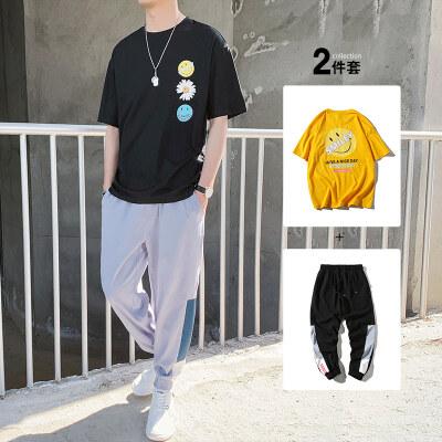 新款2020T恤男士套装潮流帅气百搭夏季体恤潮牌衣服男装BT304 P50