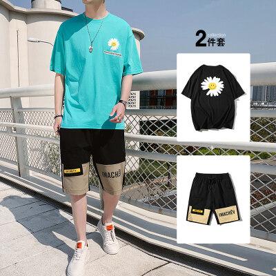青少年春夏季男士休闲运动套装男孩帅气韩版潮流短袖BT307 P45