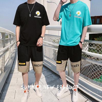 夏装小雏菊T恤新款男士休闲套装男韩版潮流两件套百搭BT307 P45