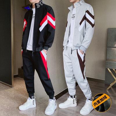 【内附质检】2019新款卫衣套装帅气加绒运动两件套 BT197 P100