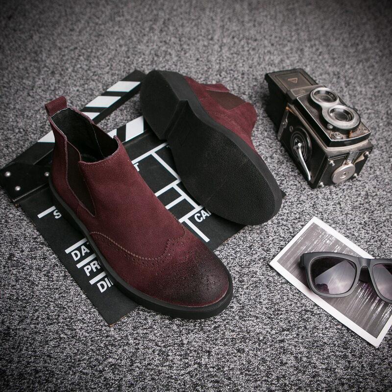电商A258-829-p1202020春款时尚男鞋829p120 真皮休闲切尔西靴 布洛克加绒保暖短靴