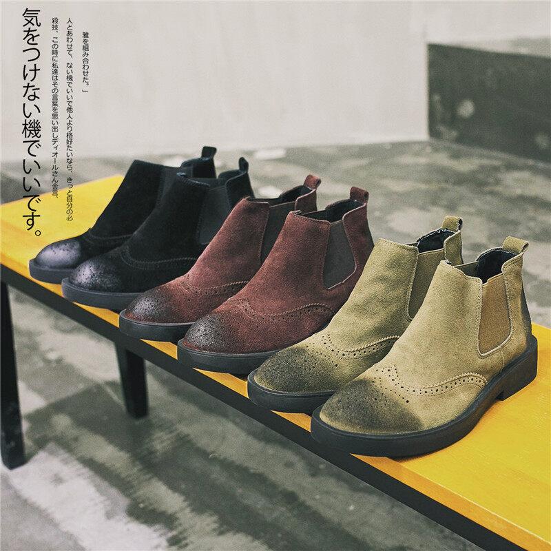 电商A258-829-p1202020春款829p120不低于150切尔西靴真皮休闲鞋套脚短靴百搭韩版男