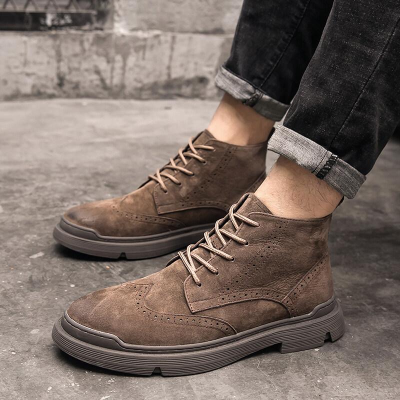 电商A258-809-特90809特P90控价130 春季新款真皮男鞋布洛克复古时尚潮鞋英伦马丁靴