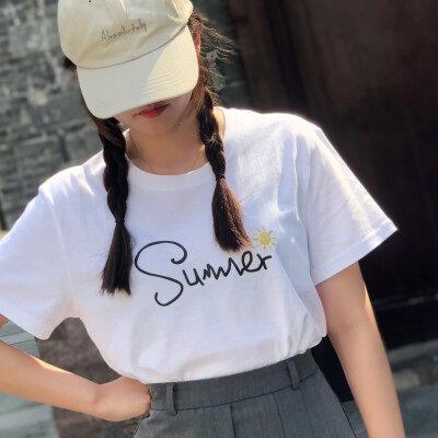 2020新款纯棉短袖T恤男女夏季胸前字母印花潮流韩版宽松版