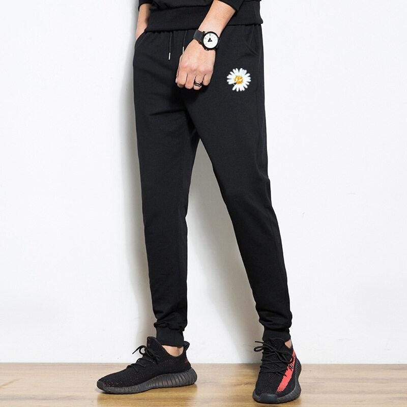 M系列裤子潮牌印花夏季棉质休闲束脚小脚裤韩版修身时尚薄款透气长裤