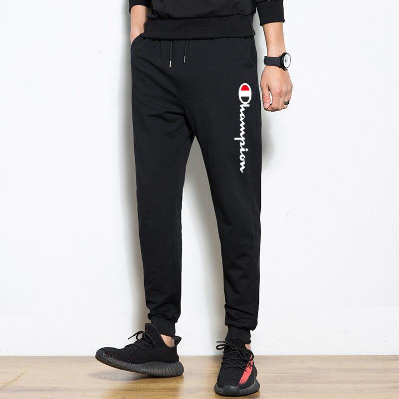 M系列裤子95%棉男士休闲长裤夏季束脚小脚裤薄款潮牌印花时尚青年学生长裤