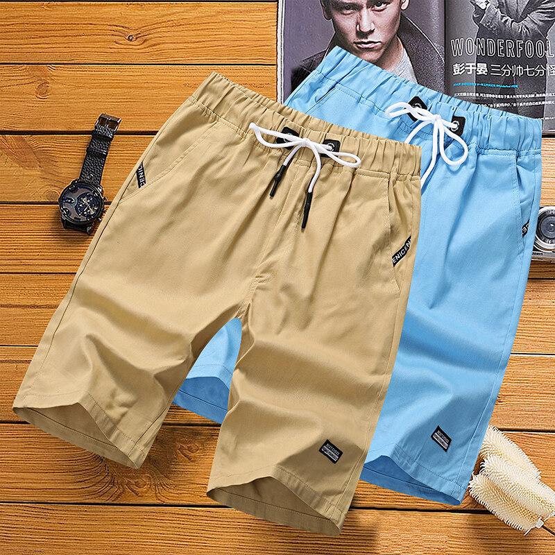 65802020新款休闲裤男夏天短裤沙滩裤纯棉纯色5分五分裤
