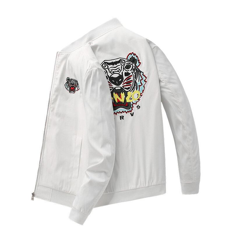 8772欧洲站棒球服男夹克2020春季新款外套男韩版潮流刺绣白色夹克