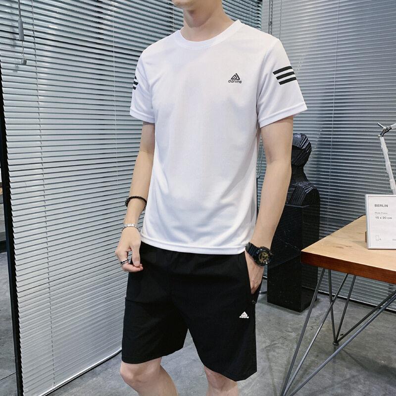 1018男士休闲运动套装夏季韩版短袖短裤两件套套装时尚薄款透速干套