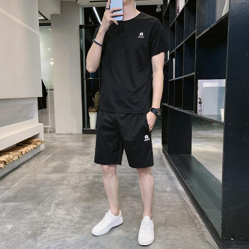 1019男士短袖T恤短裤两件套运动套装2020夏季薄款透气修身时尚套装潮