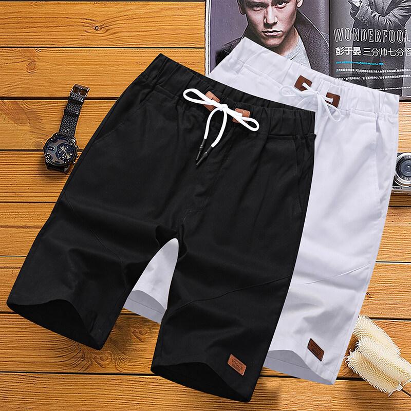63802020新款休闲裤男夏天短裤沙滩裤纯棉纯色5分五分裤