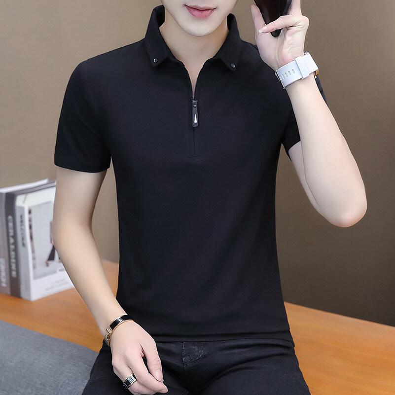118夏季短袖t恤男潮流韩版修身立领polo衫纯棉个性半袖青年