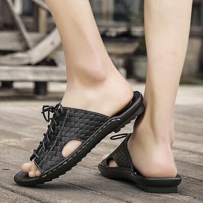 男士凉皮拖鞋2020新款真皮沙滩鞋夏季室外穿韩版潮流防滑