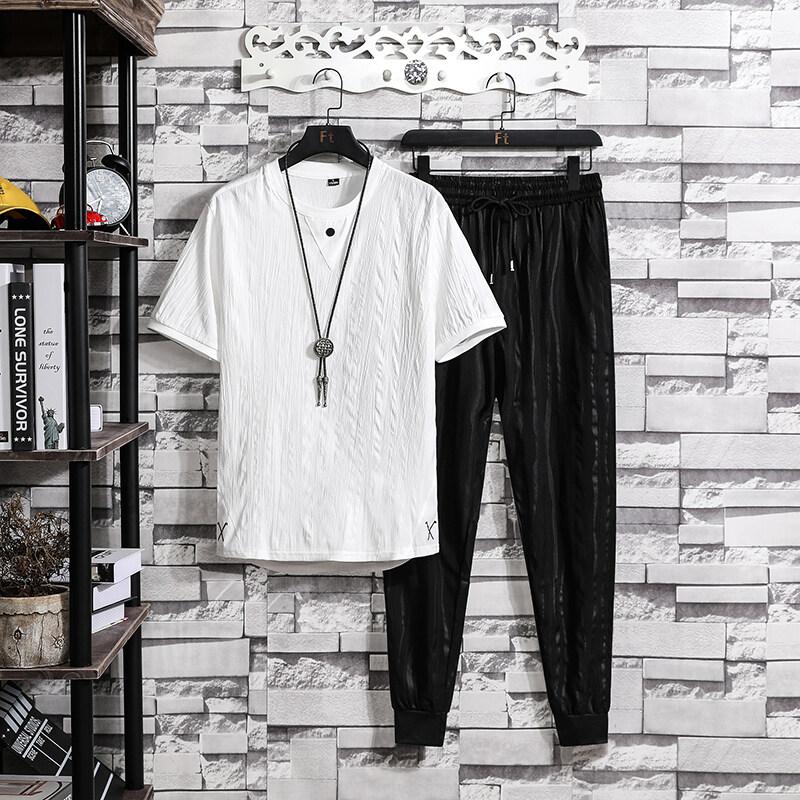 316男士短袖t恤套装2020潮牌潮流夏季一套衣服青年休闲帅气搭配