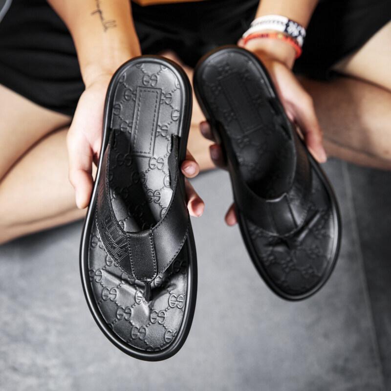 9102堡路马头层牛皮人字拖鞋复古休闲潮流夏季拖鞋男鞋