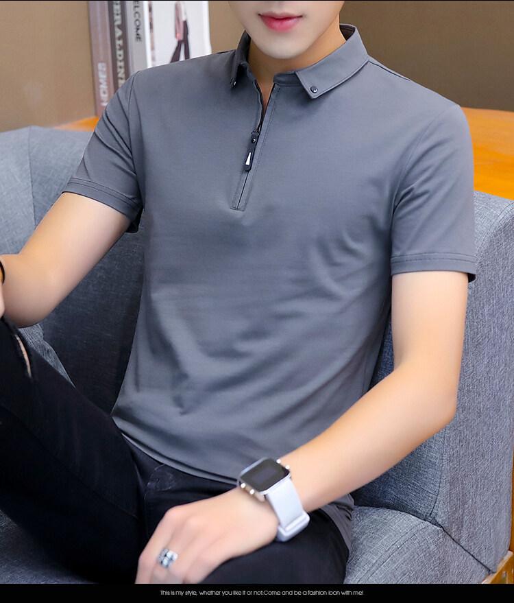 T118款2020新款立领纯色短袖POLO衫纯棉T恤男夏装有领宽松带领