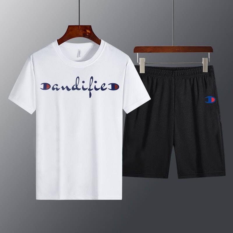 6581 冠军休闲裤运动套装短裤2020新款短袖T恤蚂蚁皱两件套