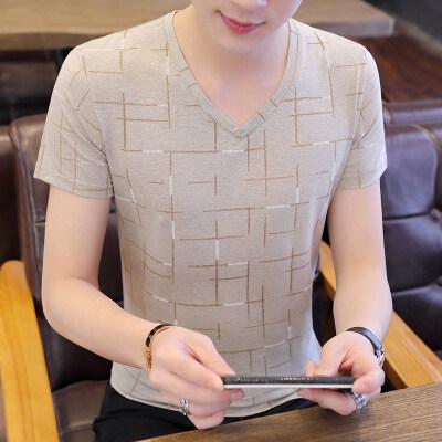 夏季短袖T恤半袖V领卫衣网格条纹凉爽舒适透气卡其色T9531P22