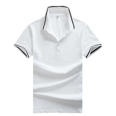 男士高档品牌透气短袖POLO95%棉纯色潮流T恤