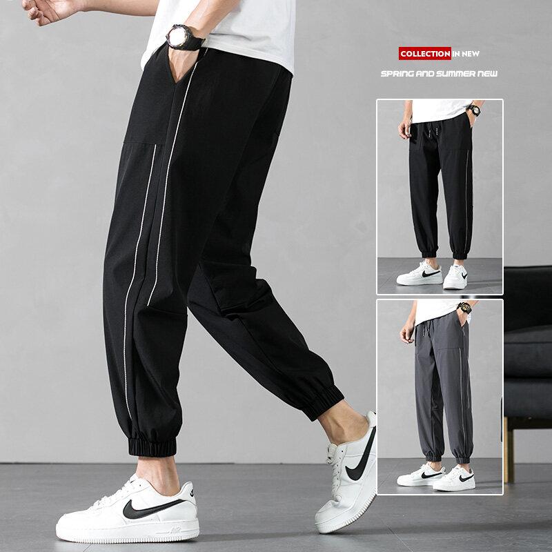 K003四面弹透气束脚薄款修身男士九分裤2020夏季速干冰丝运动休闲