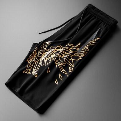 男士短裤潮牌2020夏季休闲裤运动烫金沙滩裤男士潮流五分裤