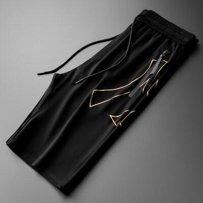 男士大牌字母冰丝短裤2020夏季新款潮牌休闲运动五分沙滩裤