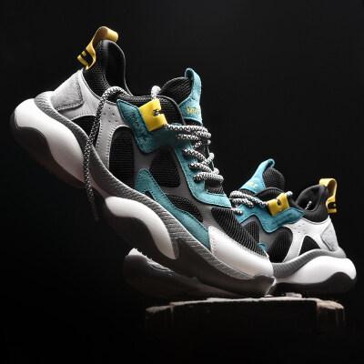 新款真皮老爹鞋夏季透气滴胶防滑百搭夜跑反光运动鞋鞋高端品质A