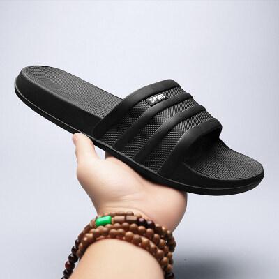 跨境阿迪同款夏季三条杠一字拖鞋大码鞋个性潮流沙滩一字凉拖鞋男