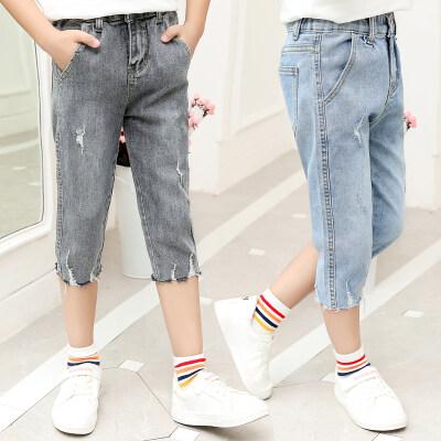 女童八分裤夏装新款韩版儿童松紧腰破洞牛仔裤夏秋季薄款潮裤