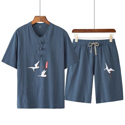 2021夏季新款中国风男装刺绣棉麻亚麻短袖套装男两件套大码男